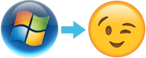 Evolution of Vista Start Button to Apple Emoji